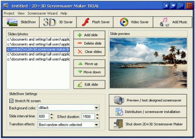2D+3D Screensaver Maker 3.63 screenshot