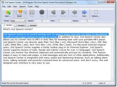 2nd Speech Center 4.15.10.12 screenshot