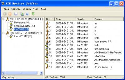 AIM Monitor Sniffer 3.0 screenshot