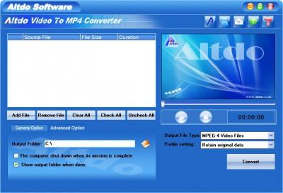 Altdo Video to MP4 Converter 6.5 screenshot