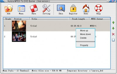 Aurora MPEG To DVD Burner 5.2.49.6 screenshot