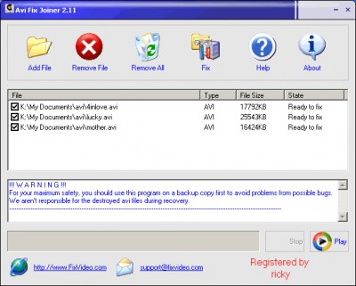 Avi Fix Repair Joiner 2.11 screenshot