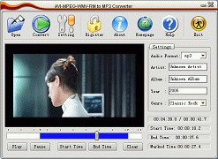 AVI MPEG WMV RM to MP3 Converter 1.8.4 screenshot