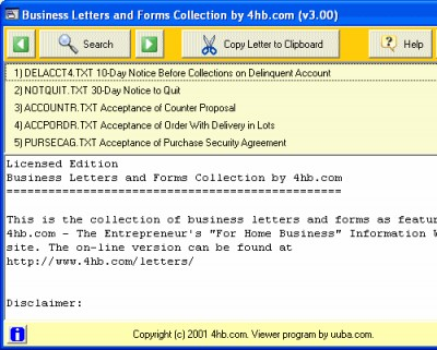 Business Letters and Forms Collection by 4hb.com 3.00b screenshot