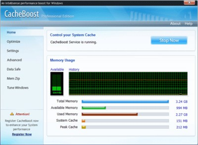 CacheBoost Professional Edition 5.00 screenshot