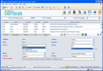 Census Bug Tracking and Defect Tracking 6.0 screenshot