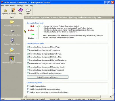 Folder Security Personal 4.1.312 screenshot