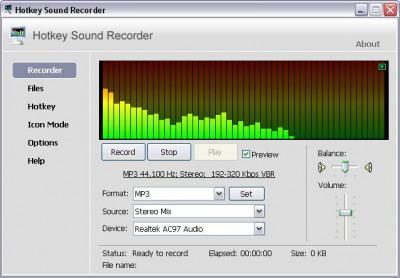 Hotkey Sound Recorder 4.0 screenshot