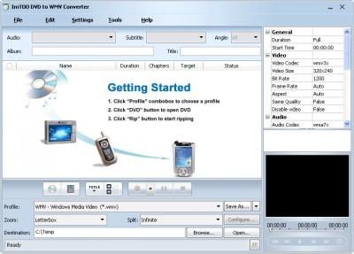 ImTOO DVD to WMV Converter 5.0.75.052 screenshot