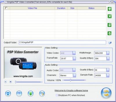 Kingdia PSP Video Converter 3.7.12 screenshot