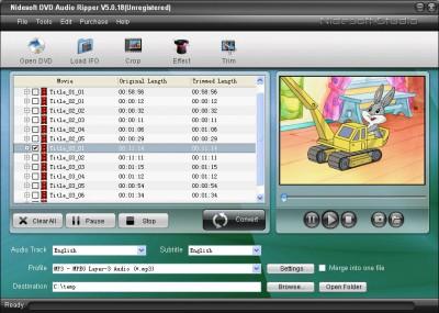 Nidesoft DVD Audio Ripper 5.4.72 screenshot