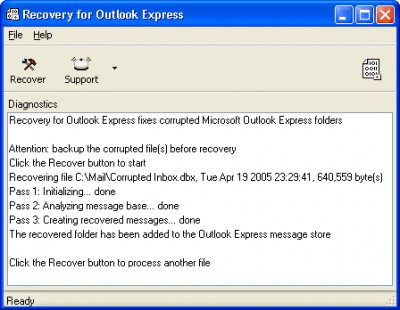 Recovery for Outlook Express 1.2.0845 screenshot