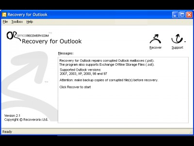 Recovery for Outlook 3.2.19638 screenshot