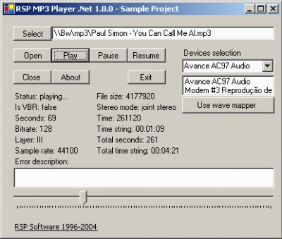 RSP MP3 Player .Net 1.1.0 screenshot