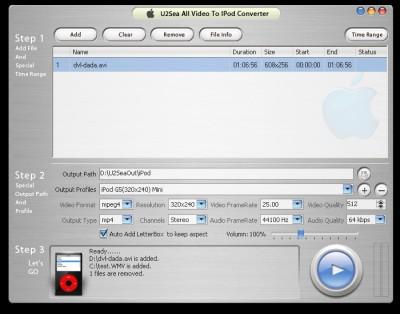 U2Sea All Video to iPod Converter 2.1.2 screenshot