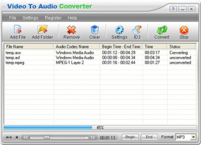 Video to Audio Converter 2.20 screenshot