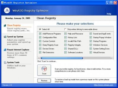WinASO Registry Optimizer 1.50 screenshot